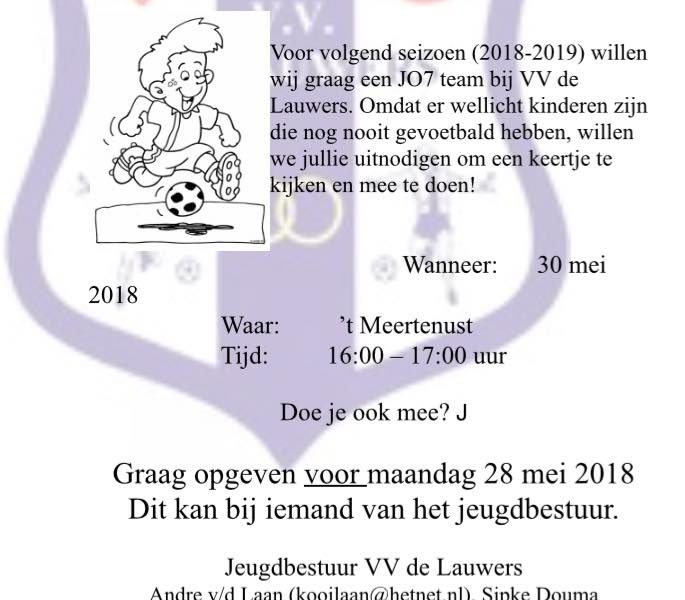 Open training voor groepen 2, 3 en 4 op 30 mei