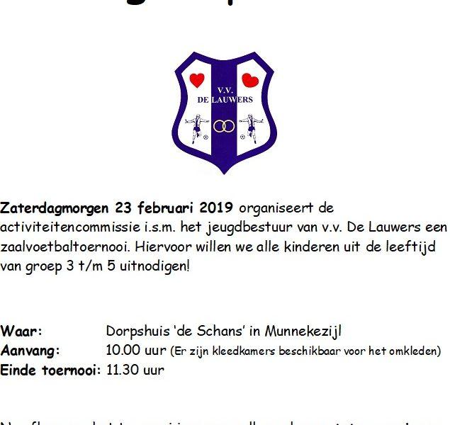 Update : Zaalvoetbaltoernooi voor groep 3 t/m 5 afgelast