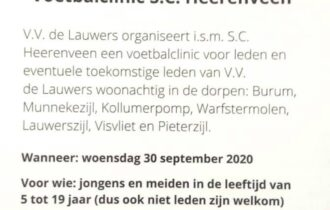 Meld je aan voor de voetbalclinic van S.C. Heerenveen!